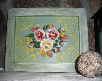 Framed Roses and Lace painting