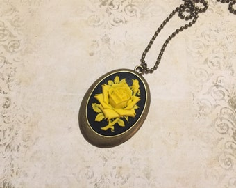 Yellow Rose- long cameo necklace