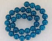16 Inch Strand Blue Jade Smooth Round Beads 12mm