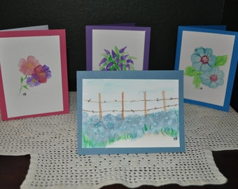 Four Hand Painted Floral  Water Color Cards