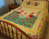 Bedspread CHENILLE double peacock colorful 40s 50s yellow blanket bedcover