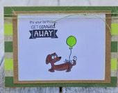 Birthday Card, Dog Themed Birthday Card, Children's Birthday Card, Little Boy Birthday Card, Copic Colored Dog Birthday Card