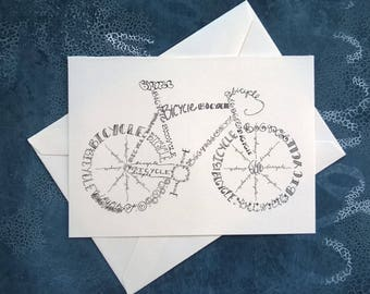 Bicycle Note Card. Single Card