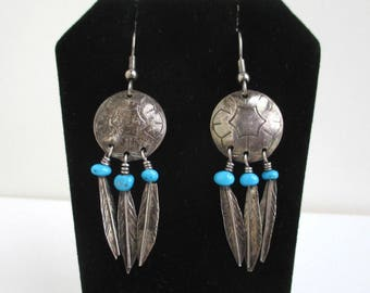 Native American Sterling Silver & Turquoise Earrings - Vintage, Dangling Feathers, Dream Catcher