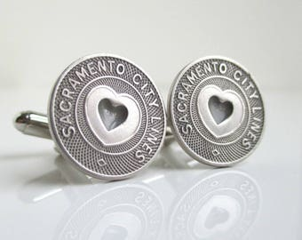 SACRAMENTO Transit Token Cuff Links - Vintage Repurposed Coins