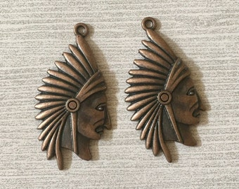Indian Chief Head Pewter Charms Antiqued Copper Perfect for Earrings (Two Pieces)