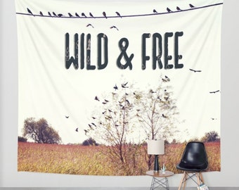 Tapestry, Wall Tapestry, Wall Hanging, Birds, Wild and Free, Typography, Bird Wall Art, Wall Art, Dorm Tapestry, Hipster, Wall Hangings