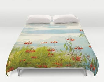 Duvet Cover, Red Bird of Paradise, Duvet Covers, Queen, Home Decor, Bedding, Bedroom Decor, Red and Blue Duvet, Red and Blue, King Duvet