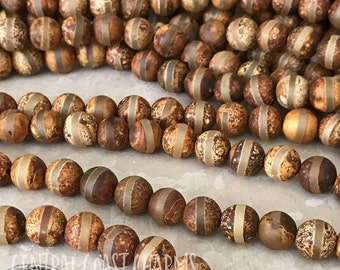"8mm dZi Tibetan Banded Striped Agate Matte Aged Smooth Round Gemstone Beads - Earthy Rustic Boho Mala - 15.5"" Strand - Central Coast Charms"