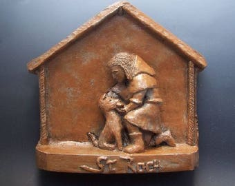 Patron of Dogs: St. Roch, Handmade Statue (Small Size)