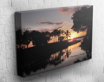 Beach Sunset Photography, Canvas, Gallery Wrap, Tropical Decor, Sunset Photography, Amber Sunset Photo, Florida Art, Palm Trees, Nature, Sun