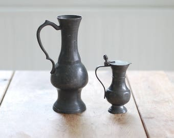 ANTIQUE Pair of Pewter Pitchers - Tall Tankards - Dark Patina