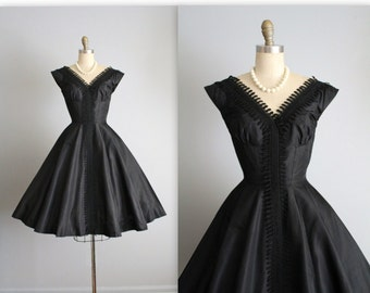 50's Suzy Perette Dress // Vintage 1950's Black Silk Full Cocktail Party New Look Dress XS