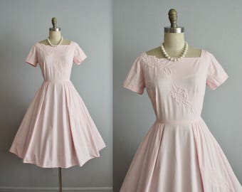 50's Pink Dress // Vintage 1950's Floral Quilted Cotton Full Garden Party Casual Day Dress M Petite