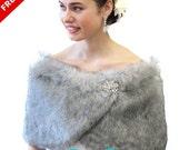 Black Friday Bridal Grey Chinchilla Faux Fur Wrap, faux fur stole, grey bridal shrug, bridal shawl, 306NF-GREY