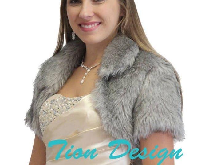 Memorial Day Bridal bolero, Grey Faux Fur Bolero Crop Jacket For women 680NF-GREY, Faux fur shrug, Faux fur cape