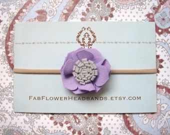 Lilac Felt Flower Headband - Felt Baby Headband - Newborn Headband - Girl Headband - Soft Nylon Band - One Size Fits All - Lavender - Gray