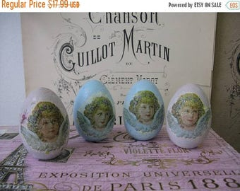 Spring Clearance SaLe Romantic Aged Nordic French Inspired Cottage Chic Decorative Cherub Wooden Eggs