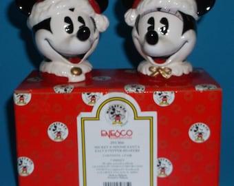 Enesco Ceramic Christmas Mickey Mouse Minnie Santa Salt & Pepper Shakers