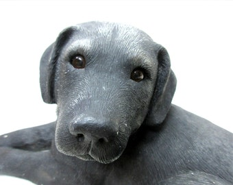 Vintage SANDICAST Black Labrador Retriever Sculpture Sandra Brue 1984