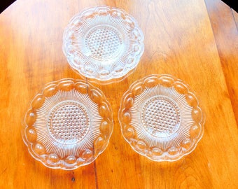 Bartlett Collins. Dessert Plate. Crystal Glass. plate set. Manhattan. Clear Glass. 6 inch Crystal Dessert Plate. set 3. Dishes. Dinnerware