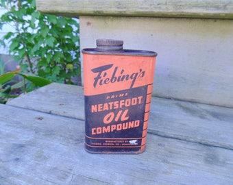 Advertising TIN. NEATSFOOT OIL Tin. Neatsfoot Oil. Farmhouse Decor. Primitive Decor. farm gift idea. Farm Fresh vintage 1940s 1950s 1960s