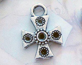 50 silver iron cross charms pendants crosses double sided with holes for stones religious spiritual 18mm x 13mm - C0195-50