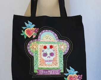 Sugar Skull, Dia de los Muertos, Canvas Tote Bag with Appliqué