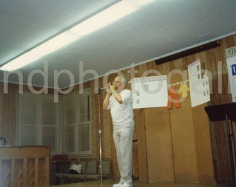 Harmonica Player at Community Center, Vintage Photo, Color Photo, Found Photo, Old Photo, Vernacular Photo, Snapshot, Candid    051.jpg