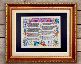 Lewis Carroll Poem Jabberwocky Fine Art Print Reproduction // Nursery Decor