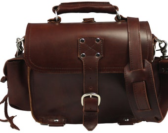 Leather Satchel, Possibles Bag, SMALL - Burgundy