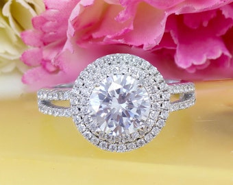 GIA G-SI1 14k White Gold Round Cut Diamond Engagement Ring Halo Deco Antique Style, Bridal Style, Wedding, Prong Set,  2.10ctw