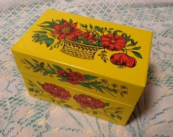 Vintage Metal Recipe Box by Syndicate Mfg. Company - Metal Yellow and Red Recipe Box - 17-337
