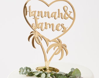 Personalised Palm Tree Wedding Cake Topper