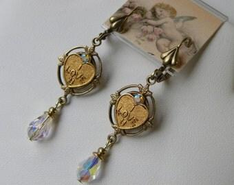 I Love You Earrings with Swarovski Teardrop Crystals, Vintage Brass Charm Earrings, Valentine's Day Jewelry Earrings