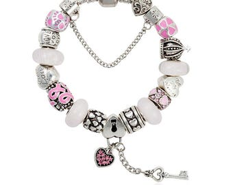 Rose Pink European Silver Tone Bracelet Glass Murano Beads Key Locker Breast Cancer Ribbon Charm E04