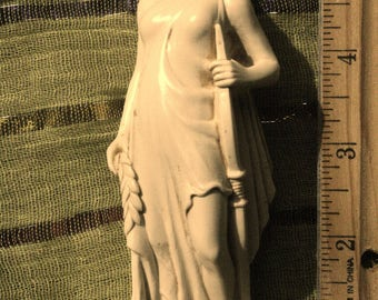 DIANA  goddess of the hunt over  5 inches .powerfull alter statue  made with good vibes