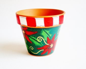 "Holiday Decor, 3 Inch Terracotta Pot, ""Holiday Sparkle"" Teacher's Gift, Under 15- Ready to Ship"