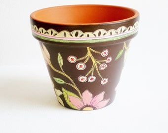 "Flower Pot Hand Painted Terracotta Planter-4 inch ""Chocolate Floral""- Ready to Ship"