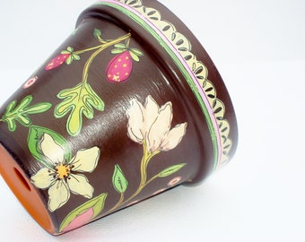 """Hand Painted Flower Pot,  4 InchTerracotta Planter- """"Chocolate Floral"""" Housewarming, Birthday, Mothers Day Gift- Ready to Ship"""
