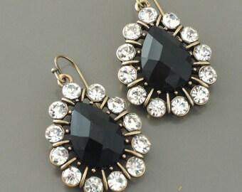 Antique Gold Earrings - Crystal Earrings - Black Earrings - Teardrop Earrings - Bridesmaid Earrings