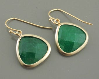 Gold Earrings -  Emerald Green Earrings - Emerald Earrings - Birthstone Earrings - Triangle Earrings - Handmade Jewelry
