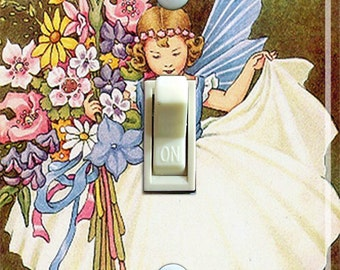Vintage Fairy in Blue Illustration Switch Plate (single)  ***FREE SHIPPING***