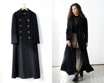 70s Coat M • Long Winter Coat • Maxi Coat • Long Wool Coat • Double Breasted Coat • Winter Coat • Long Black Coat • Duster Coat | O338