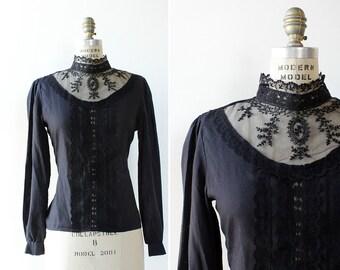 Black Ruffle Blouse S/M • 70s Blouse • Goth Blouse • Black Lace Blouse • Sheer Black Top • Puff Sleeve Blouse • High Neck Blouse | T743