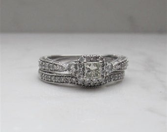 14k Solid White Gold Wedding Set .62 Total Carat Weight Diamond Engagement Ring and Wedding Band, Size 6