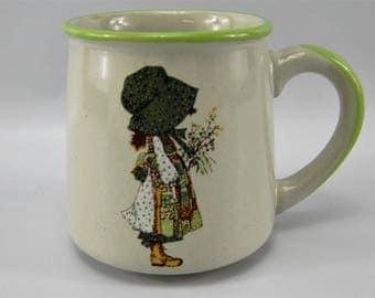 Vintage Stoneware Holly Hobbie Mug 1978 Green Rim- Made in Korea- WWA Inc