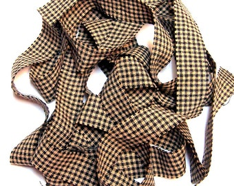 1 yard Homespun Cotton Fabric Ribbon Black Cream Small Check