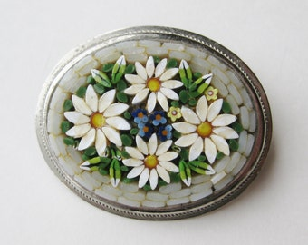 Vintage 50s Italian Murano Venetian White Daisy Micro Mosaic Art Glass Brooch Pin