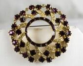 1950s Rhinestone Circle Pin - Amethyst Purple Glass Brooch - Elegant 50s Jewelry - Clear & Square Rhinestones - Winter Chic - 47110